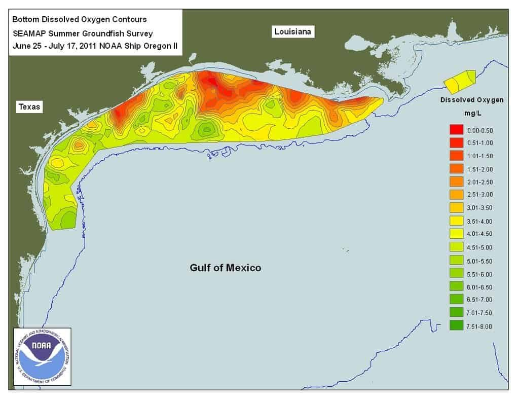 Map of extent of Gulf of Mexico dead zone.