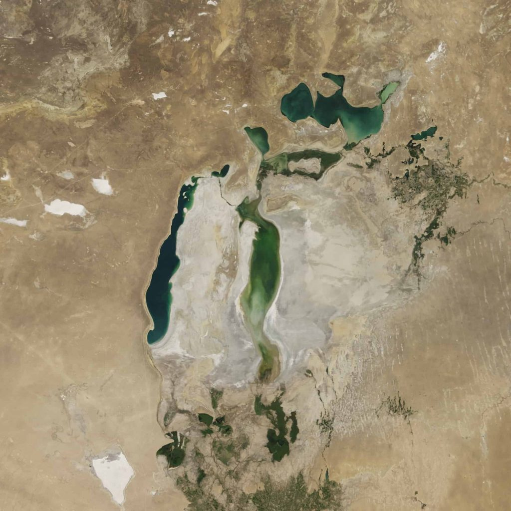 Satellite view of Aral Sea starting to replenish.